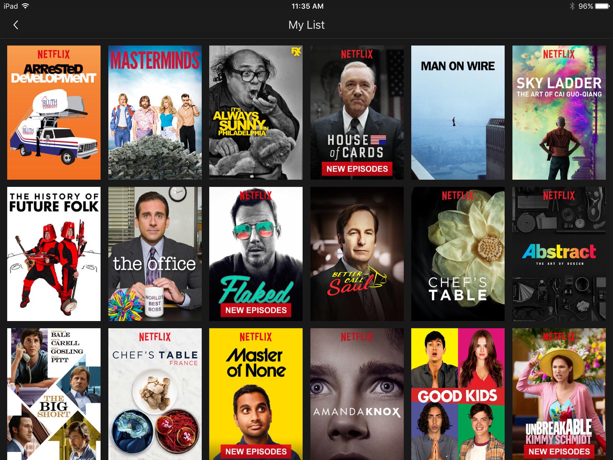 Netflix My List Screen iPad