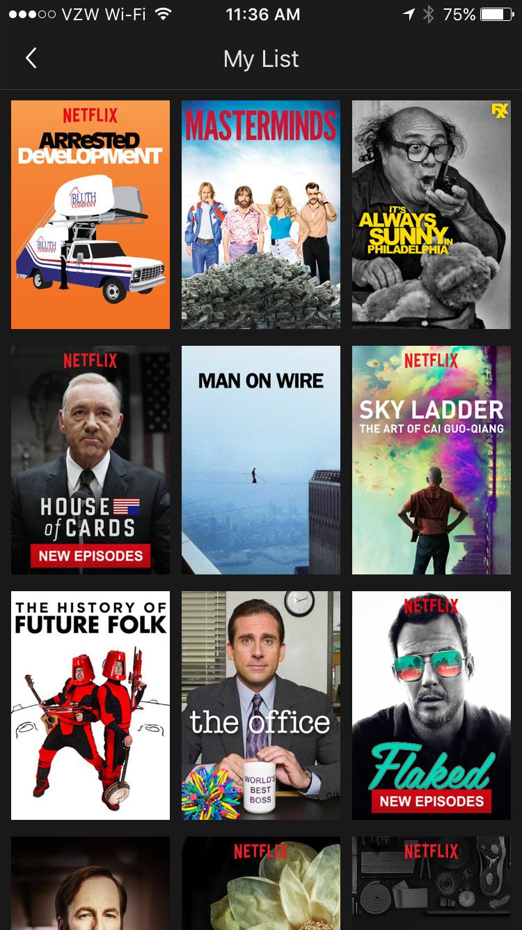 Netflix My List Screen iPhone